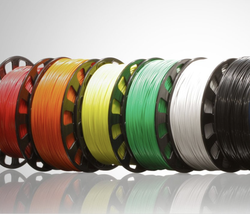 3D Printing filaments are available in different colors.